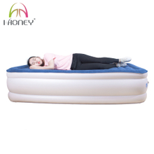 PVC Flocked Twin Size Air Bed High Inflatable Mattress with Built-in Pump