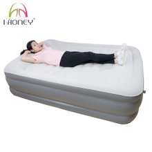 Full Size Thicken PVC Flocked Top Soft Anti-slip Air Inflatable Bed with Built-in Pillow and Pump